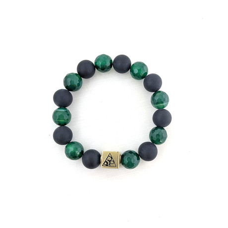 Green Agate + Black Agate Bead Bracelet // Green + Black + Gold