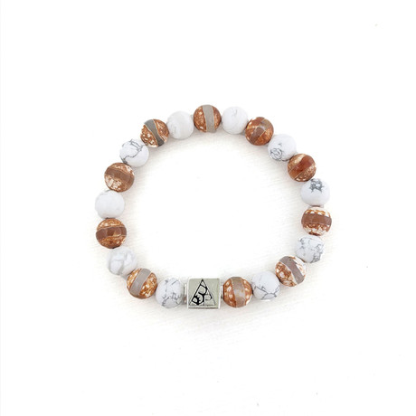 Faceted Agate + Howlite Bead Bracelet // Brown + White + Silver
