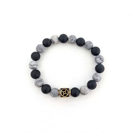 Netstone + Black Agate Bead Bracelet // Gray + Black + Gold
