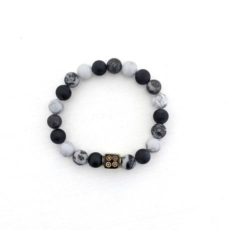 Zebra Jasper + Howlite + Black Agate Bead Bracelet // Black + White + Gold