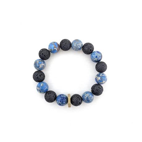 Regalite + Lava Bead Bracelet // Blue + Black + Gold
