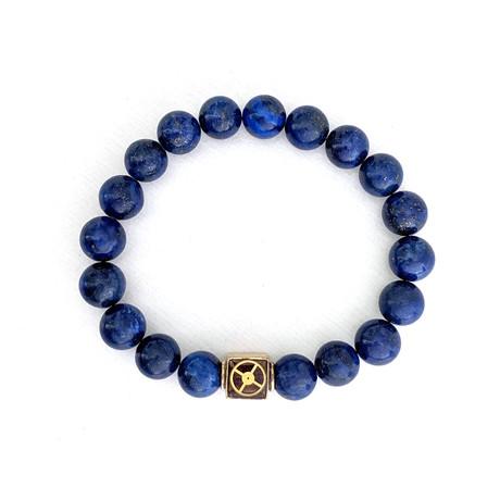 Lapis Lazuli Bead Bracelet // Blue + Brass