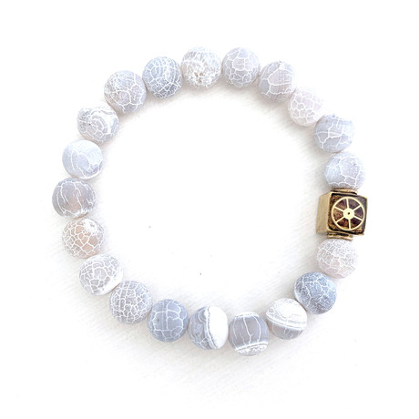 Weathered Agate Bead Bracelet // Gray + White + Gold