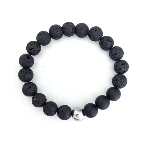 Lava + Onyx Bead Bracelet // Black + Silver