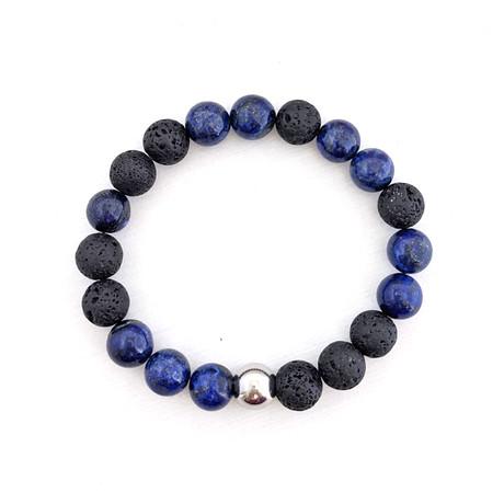 Lapis Lazuli + Lava Bead Bracelet // Blue + Black + Silver