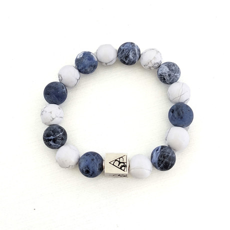 Howlite + Sodalite Bracelet // White + Blue + Silver