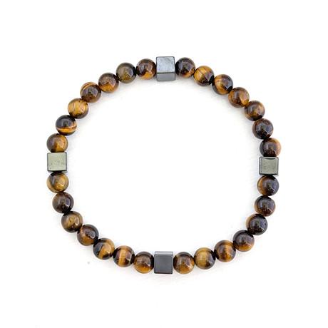Tiger's Eye + Square Bead Bracelet // Brown + Black
