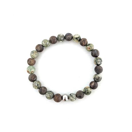 Rhyolite + Bronzite Bead Bracelet // Olive + Brown
