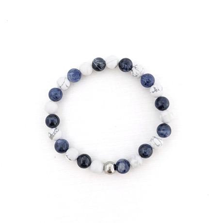 Sodalite + Howlite Bead Bracelet // Blue + White + Silver