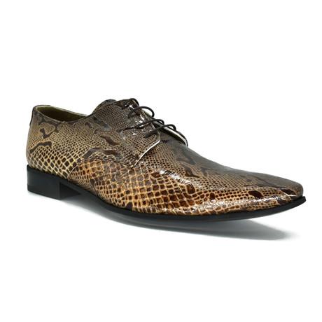 Dress Shoes // Brown Snake Print (Euro: 39)
