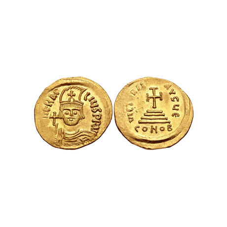 Byzantine Gold Coin Depicting The True Cross // 610-613 AD