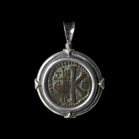 Byzantine Coin In Silver Bezel // Justinian I, 527-565 AD
