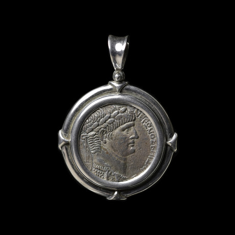 Large Roman Silver Coin Of Nero // Silver Bezel