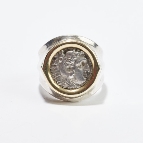 Alexander The Great Coin // Gold + Silver Ring