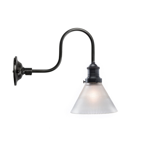 Frosted Big Cone Shade + Wall Sconce (Steel Wall Sconce)