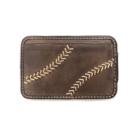 Baseball Stitch Front Pocket Wallet + Magnetic Money Clip // Brown