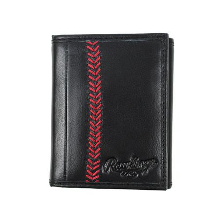 Baseball Stitch Tri-Fold Wallet // Black