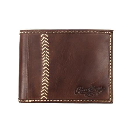 Baseball Stitch Bi-Fold Wallet // Brown