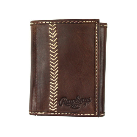 Baseball Stitch Tri-Fold Wallet // Brown