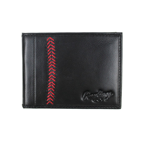Baseball Stitch Bi-Fold Wallet // Black