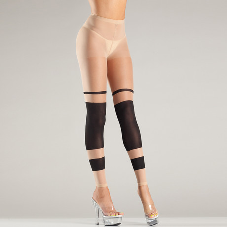 Layered Stripes Pantyhose // Nude/Black // Two Pieces