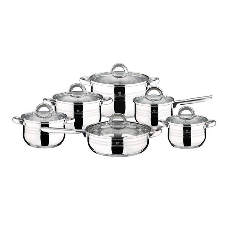 12-Piece Stainless Steel Blaumann Cookware Set (Silver)