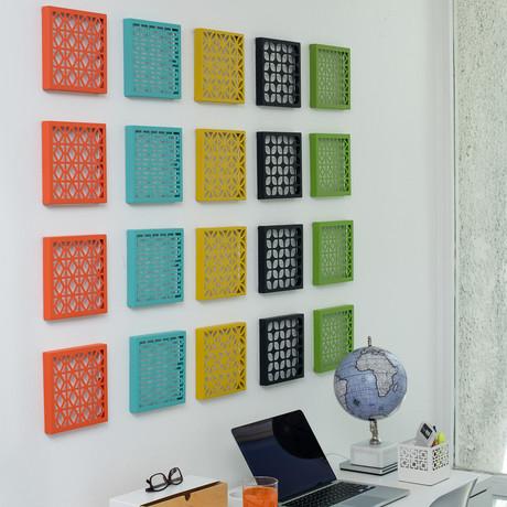 "Breeze Block 7"" Wall Tile + Trivet // Set of 4 (Matte White)"