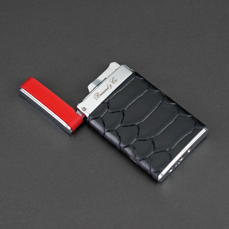Sotille Elegant and Ultra Thin Torch Lighter // Limited Edition // Black Embossed Python + Red Leather