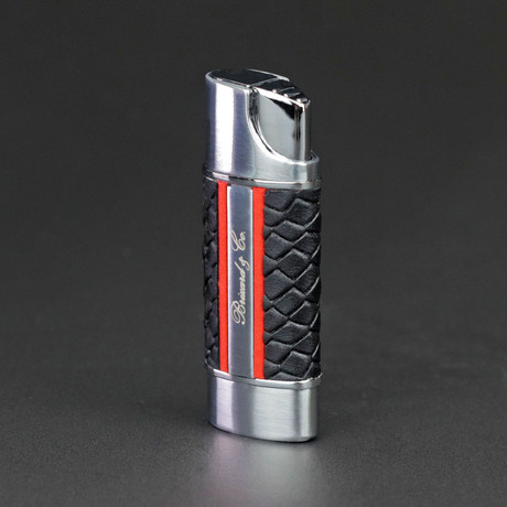 Nano Lighter Robust + Compact Torch // Limited Edition // Black Embossed Python + Red Leather