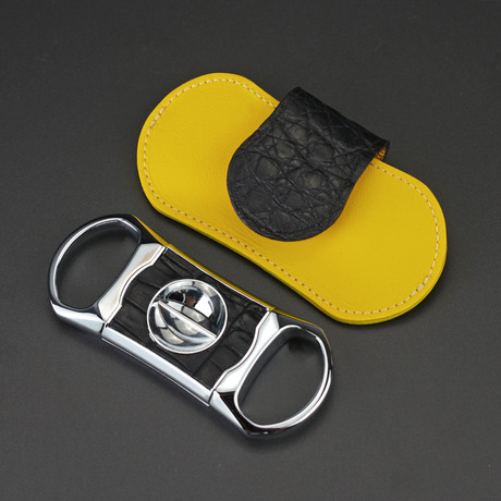Precision Deep V Cutter in a Luxury Pouch (Black + Yellow Caiman Leather)