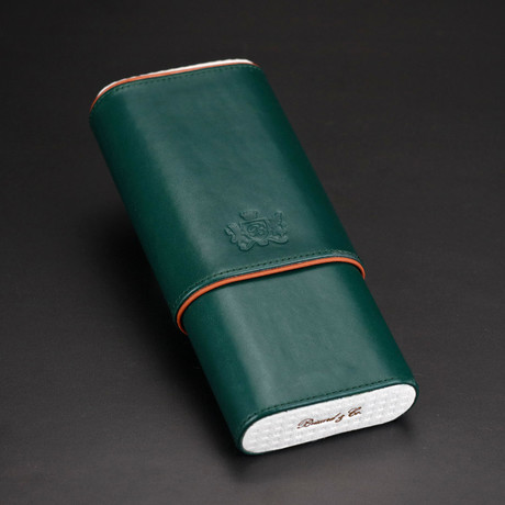 Cedar-Lined 3 Cigars Case // Limited Edition // Augusta Green Italian Leather