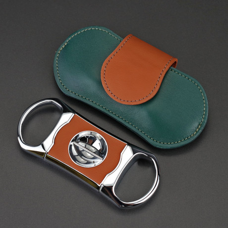 Precision Deep V Cutter + Luxury Pouch // Limited Edition // Augusta Green Italian Leather (Augusta Green Italian Leather)