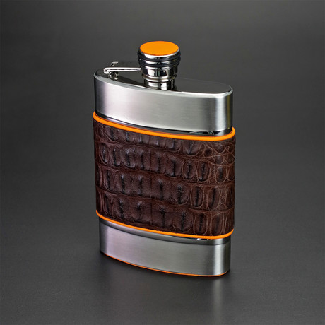 6 Ounce Flask (Black + Yellow Caiman Leather)