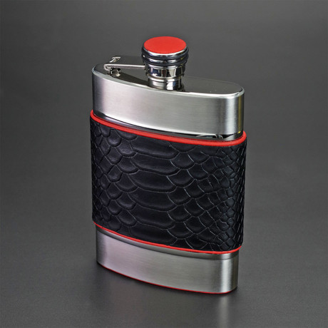 6 Ounce Flask // Limited Edition // Black Embossed Python + Red Leather