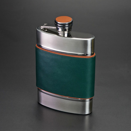 6 Ounce Flask // Limited Edition // Augusta Green Italian Leather