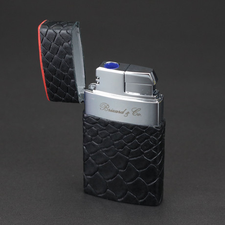 Venezia Fountain Flame Torch Lighter // Limited Edition // Black Embossed Python + Red Leather