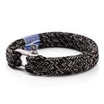 "Oceans Shackle Bracelet // Silver + Blue-Beige (7.1"")"