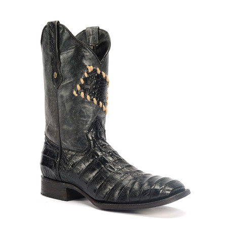 Rodeo Square Boot Caiman Parche Print // Black (US: 7EE)