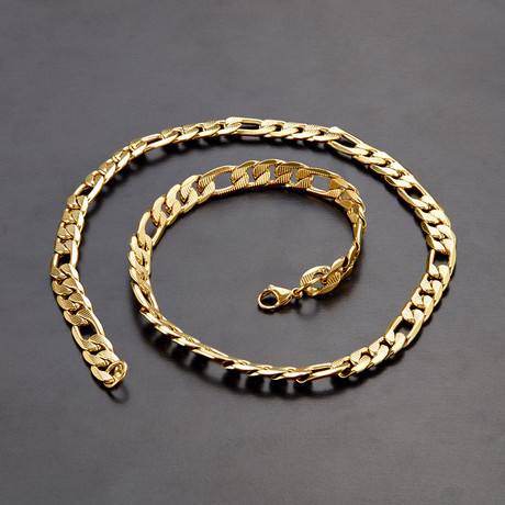 Textured Figaro Chain Necklace // Gold