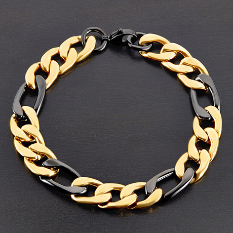 Polished Two-Tone Figaro Chain Bracelet // Black + Gold