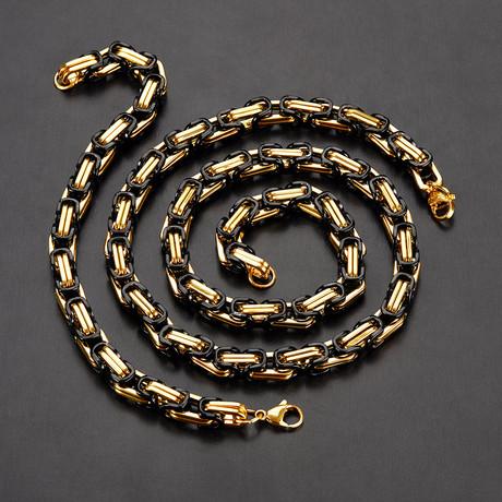 Two-Tone Byzantine Necklace + Bracelet // Black + Gold