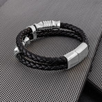 "Gracilitas Leather Bracelet // Silver + Black (7"")"
