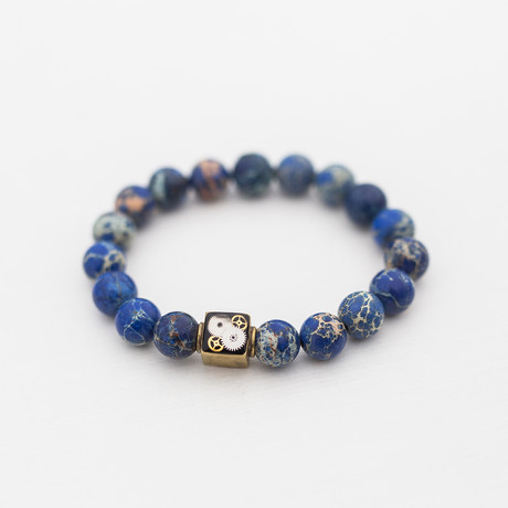 Regalite + Brass Bead Bracelet // Blue + White + Gold