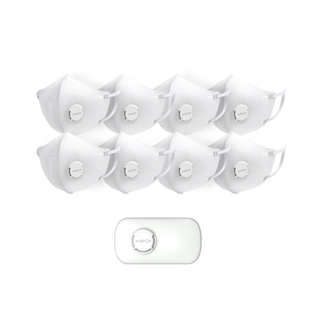 AirPop Pocket 8-Pack Face Mask + Carrying Case // White