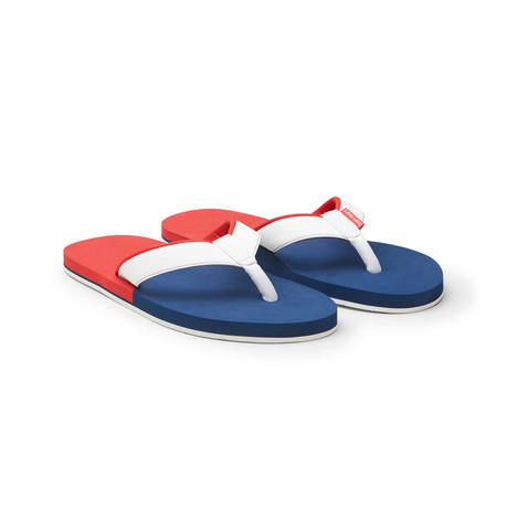 Piers Crew Flip Flops // Red + White + Navy (US: 8)