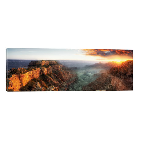 "Sunset Grand Canyon V // Dennis Frates (60""W x 20""H x 0.75""D)"