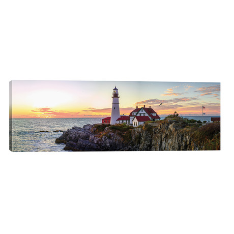 "Portland Head Light Sunrise // OLena Art (60""W x 20""H x 0.75""D)"