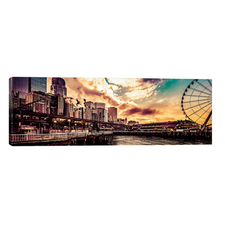 "Turquoise Seattle Sunrise Great Wheel Pier 57 Cityscape Panorama // Nature Magick (60""W x 20""H x 0.75""D)"