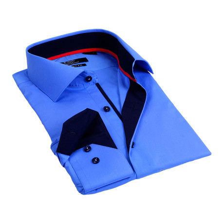 Contrast Collar Solid Button-Up // Royal Blue+ Navy (S)
