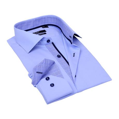 Contrast Collar Solid Button-Up // Light Blue + Blue Trim (S)